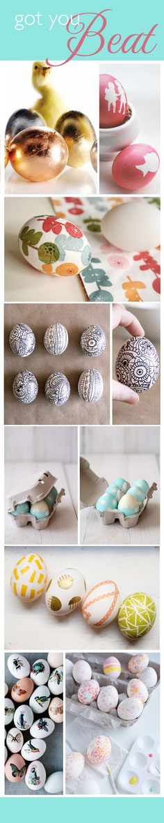Metallic Eggs,  Silhouette Eggs, Decoupage Flower Eggs,  Doodle Easter Eggs, Polka Dot Eggs (directions in Spanish but photos are self explanatory), Washi Tape Eggs,  Art Dot Eggs,