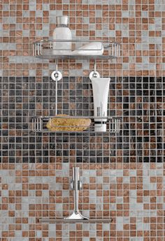 No Drilling Required Shower Caddy U0026 Squeegee By Nie Wieder Bohren Germany.  Designed For Tile