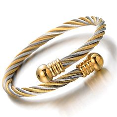 Elastic Adjustable Classic Stainless Steel Twisted Cable Cuff Bangle Bracelet for Mens for Women Silver Gold Two-tone - Jewelry For Her