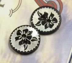 Shell Buttons - Bauhinia Pattern Black Shell Buttons, 0.47 inch, 10 Pcs by Lyanwood, $4.00