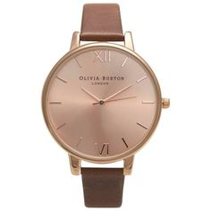 Olivia Burton Women's Big Dial Leather Strap Watch , Brown/Rose Gold (485 ILS) ❤ liked on Polyvore featuring jewelry, watches, rose gold jewelry, roman numeral jewelry, brown wrist watch, oversized rose gold watches e rose gold jewellery