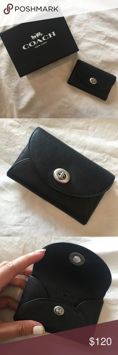 [NEW] Coach: Mini Black Rhinestone Flower Wallet Brand new and never used, comes with original box and tissue paper. I don't see this same exact product online, but similar styles go for $150+. Coach Bags Wallets