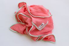 Pom Pom Swaddle Blanket Coral with Mint by LittleEweandMe on Etsy