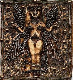 astarte goddess | Golden Plaque with fine granulation work of 4-Winged Goddess