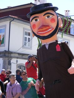 Cabeçudos or Gigantones are dolls/human figures with 3.5 to 4 meters high, typical of northern Portuguese festival. Viana do Castelo, Portugal.