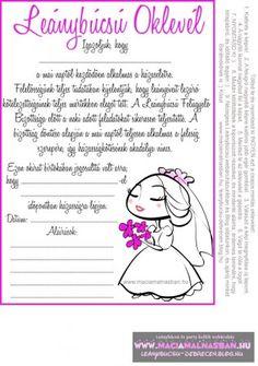 Leánybúcsú OKLEVÉL cuki menyasszony INGYEN letölthető, nyomtatható