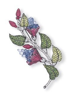 A MULTI-GEM AND DIAMOND BROOCH    Designed as a foliate spray, with pavé-set pink sapphire and sapphire briolette flowers to the pavé-set diamond stem, tsavorite garnet leaves and pink sapphire buds, mounted in 18k oxidised white gold