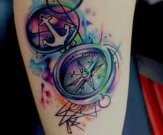 Compass Watercolor Tattoo. I wouldn't get it, but this is gorgeous.