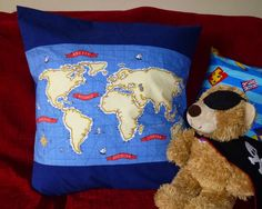 Pirate world map cushion cover - The Supermums Craft Fair