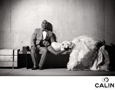 Toronto Wedding Photographer - Bride Leaning On Groom's Lap On A Bench:
