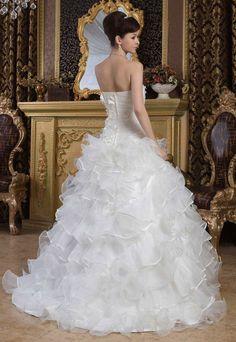 Angel Formal Dresses Organza Low Back Chapel Train Wedding Formal Dresses For Women, Chapel Train, Wedding Wishes, Dress P, One Shoulder Wedding Dress, Ball Gowns, Wedding Photos, Satin, Wedding Dresses