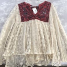 NWT FREE PEOPLE lace blouse size M New with tags. Size Medium. Lace blouse with gorgeous detailing and embroidery. Free People Tops Blouses