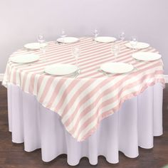 72 in. Square Blush Pink & White Striped Satin Overlay