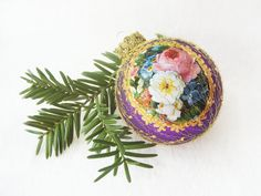 WireWrapped Christmas Ornament by SilverOwlStudio, handpainted, glass ball, bauble, flowers, purple, gold,