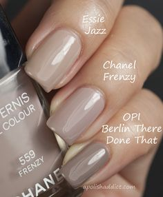 "Essie-""Jazz"", Chanel - ""Frenzy"" and OPI - ""Berlin There Done That"". I'm so sick of my 'barn nails'. I want pretty nails! Love Nails, How To Do Nails, Pretty Nails, Fun Nails, Taupe Nails, Neutral Nails, Beige Nail, Nails Ideias, Uñas Fashion"