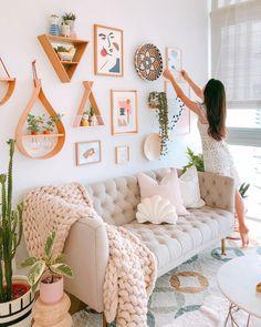 Home Living Room, Living Room Designs, Living Room Decor, Apartment Living, Room Ideas Bedroom, Bedroom Decor, Wall Decor, Wall Art, Boho Room