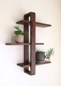 Today Pin - Daily Good Pin - Modern Wood Wall Shelf, Solid Walnut for Hanging Plants, Books, Photos. Wood Wall Shelf, Wood Shelves, Wood Wall Decor, Floating Shelves, Hanging Shelves, Diy Wood Projects, Wood Crafts, Woodworking Projects, Diy Crafts