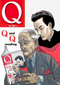"""Q and Q reading Q"": my favourite entry in Neill Cameron's A-Z of Awesomeness (http://neillcameron.blogspot.ca/search/label/A-Z%20of%20Awesomeness) and possibly my all-time favourite example of the Droste effect (http://en.wikipedia.org/wiki/Droste_effect; yes, I'm counting the Hasselhoff belt buckle in this estimation). Brilliant!"