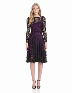Amazon.com: Isaac Mizrahi Women's Long-Sleeve Lace Dress with Color Lining: Clothing