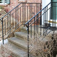Front porch with wrought iron railings google search for Garden decking handrails