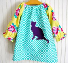 Kitty Cat Dress  Long Sleeve Peasant Dress Size by thetrendytot, $48.00