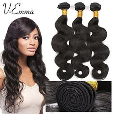 VEmma Mixed Length Brazilian Virgin Remy Human Hair Extension Weave 3 Bundles 300g  Natural Black141616Body Wave * Click image to review more details.