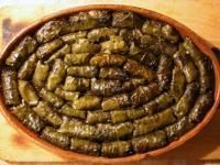 Dolmathes (Greek grape leaves stuffed with rice and meat) The Greek word dolmathes, or dolmades (ντολμαδες) comes from Turkish dolma, which is a general term for stuffed vegetables. Greek dolmathes, often known simply as dolmas in English, are stuffed grape leaves. This fresh and healthy finger food is also popular in Turkey, the Middle East and the Balkans.