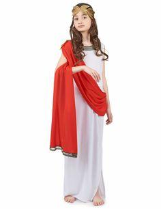 Disfraz de diosa romana niña: Este disfraz de diosa romana para niña está compuesta por un vestido largo blanco,un cinturón y una cinta para el pelo.El cuello del vestido y los bajos tienen detalles en...