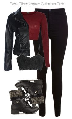 """The Vampire Diaries - Elena Gilbert Inspired Christmas Outfit"" by staystronng ❤… Bad Girl Outfits, Teen Fashion Outfits, Teenager Outfits, Edgy Outfits, Mode Outfits, Cute Casual Outfits, Grunge Outfits, Outfits For Teens, Party Outfits"