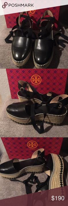 Tory Burch Sandals New!!  Black Tory Burch espadrille sandals. Never been worn.. Tory Burch Shoes Sandals