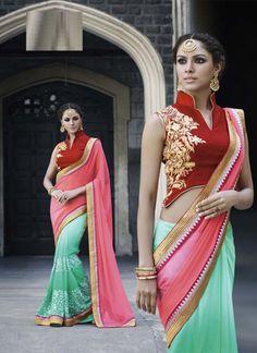 Beauteous Pink and Mint Green Designer Saree - shopneez.com
