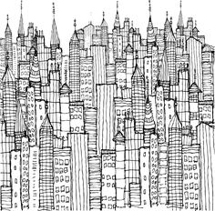 """This symphpny of buildings actually prints out to be 7"""" x 7""""-can't wait to add color."""