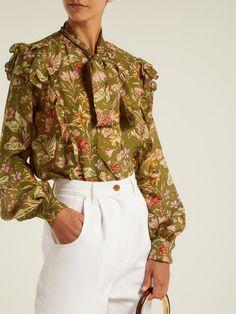 ceae7b9f5 Preen By Thornton Bregazzi Molly ruffle-trim floral-print silk blouse Ruffle  Trim,