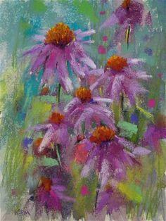 """Purple Coneflowers 9x12 pastel"" - Original Fine Art for Sale - © Karen Margulis"
