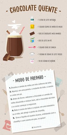 Receita de chocolate quente muito leve e especial - Receiteria Chocolate Smoothie Recipes, Easy Smoothie Recipes, Healthy Recipes, Simple Recipes, Almond Recipes, Mein Café, Diy Food, Clean Eating Snacks, Hot Chocolate