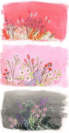 Love the colors and illustration. I wish I could find the artist! Art Floral, Art Amour, Guache, Art Et Illustration, Flower Illustrations, Inspiration Art, Grafik Design, Art Design, Love Art
