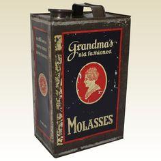 Turn of Century 'Grandma's Old Fashioned Molasses' 1 Gal Litho Tin