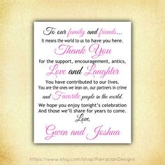 Wedding Thank You Sign Reception Poster Favor by ParraclanDesigns, $5.00