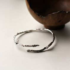 Twig branch bangle Sterling silver textured open twig bangle