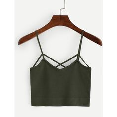 Strappy Crop Knitted Cami Top - Olive Green ($6.99) ❤ liked on Polyvore featuring tops, green, green vest, white tank, white vest, white camisole and white crop tank