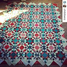 Some Sunday night Allietare Love coming from @chibibenz !  I am loving her colors, and envying that sunshine coming through her window!  Her quilt is absolutely stunning! How is yours coming along?  ・・・ All laid out! I have a lot of sewing ahead! #quiltvillemystery2015 #allietarequilt #mysteryquilt #quiltsbyyou #quilt #quilting #patchwork #quiltville #bonniekhunter