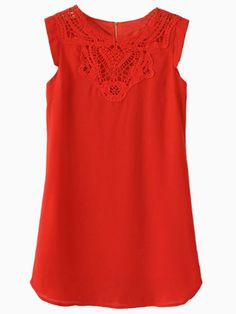 Red Lace A-line Dress | Choies