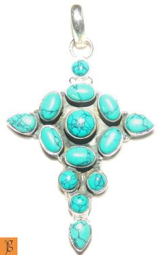 DIVINE HOLY CROSS BLUE TURQUOISE .925 STERLING SILVER PENDANT P0009