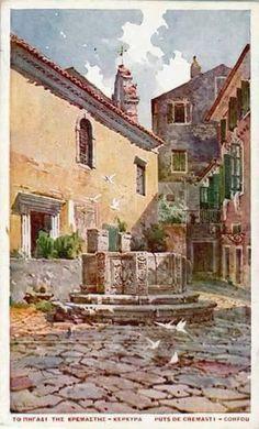 OLD CORFU TOWN - PAINTING! English Artists, Australian Artists, Greek Paintings, Corfu Town, Corfu Island, Corfu Greece, Cruise Destinations, Boat Painting, Greek Art