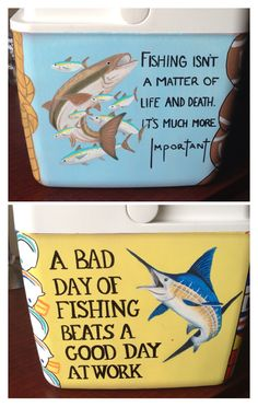 Guy Harvey cobia and blue marlin painted on a cooler with cute fishing sayings