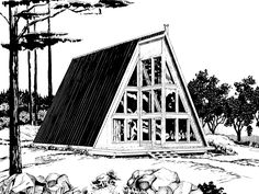 The Melrose Point A-Frame Home has 1 bedroom and 1 full bath. See amenities for Plan 072D-1097.