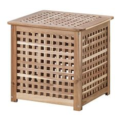 IKEA - SKOGHALL, Bedside table, , Solid wood, a durable natural material.Practical storage space underneath the table top. Ikea Solid Wood, Bedside Table Ikea, Ikea, Wooden Storage, Wooden Storage Boxes, Ikea Storage Baskets, Ikea Side Table, Storage Baskets, Side Table