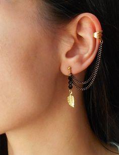 Leaf Chain Ear Cuff Earrings 2 by Maleena09 on Etsy, $9.00