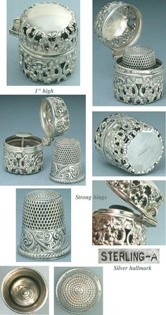 Sterling Silver thimble and case.