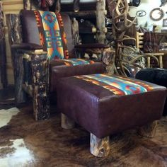 Leather and Pendleton Upholstered Aspen Log Chair.  Perfect Man Cave attire!